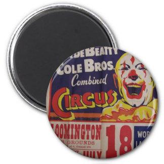"""Circo, """"Clyde Beatty y teatro retro de Bros del co Imán Redondo 5 Cm"""