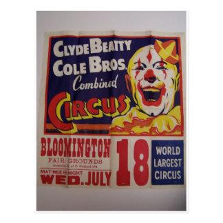 """Circo, """"Clyde Beatty y teatro retro de Bros del co Tarjeta Postal"""