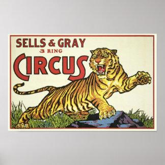 Circo de 3 anillos - circa 1930 póster