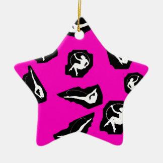 Circo de la nota de rescate adorno navideño de cerámica en forma de estrella