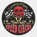 Circo de la velocidad etiqueta redonda