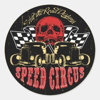 Circo de la velocidad pegatina redonda