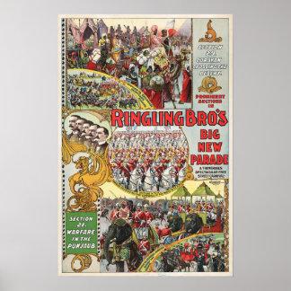 Circo de Ringling Bros - circa 1899 Póster
