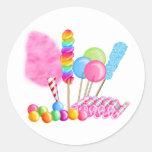 Circo del caramelo etiqueta redonda