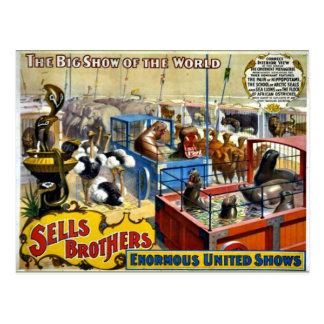 Circo del vintage - circo de los hermanos de las postal