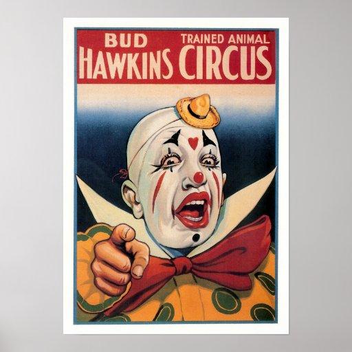 Circo del vintage de Hawkins del brote Poster