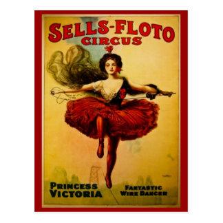 Circo del vintage de princesa Victoria Tarjeta Postal