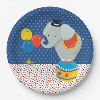 Circo * elija el color de fondo platos de papel