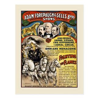 Circo Forepaugh del vintage y bomberos de las Postal