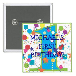Circo número uno, primer cumpleaños del confeti pin cuadrada 5 cm