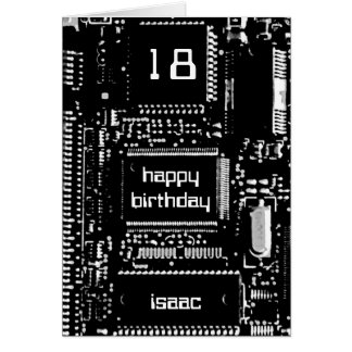 Circuit B&W 'Age and Name' birthday card