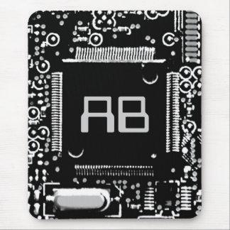 Circuit Black and White 2 monogram mouspad Mouse Pad
