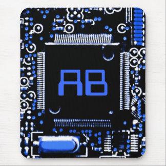 Circuit Blue 2 monogram mouspad Mouse Pad