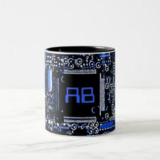 Circuit Blue 2 monogram mug