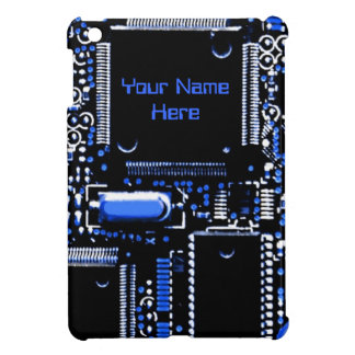 Circuit Blue 2 print 'Name' mini iPad case