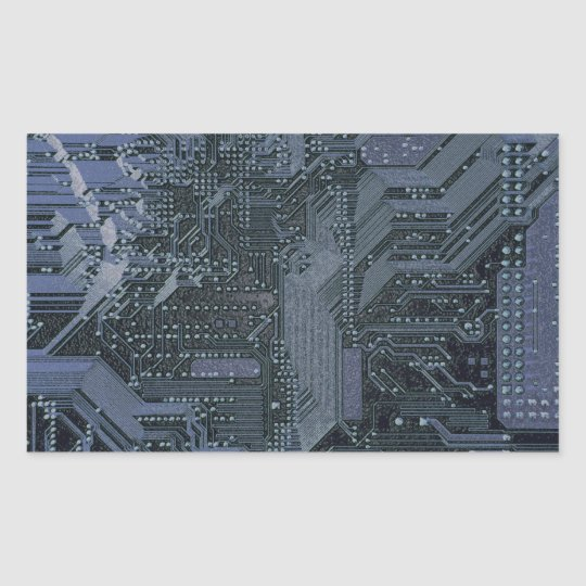 Circuit Board 1, Silver,blue Rectangular Sticker