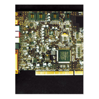 Circuit Board 2 Lateral Canvas Design Postcard