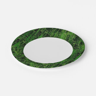 Circuit board background paper plate