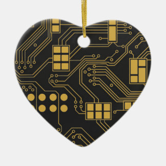 Circuit board - Black and Gold Ceramic Ornament