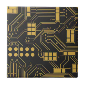 Circuit board - Black and Gold Ceramic Tile
