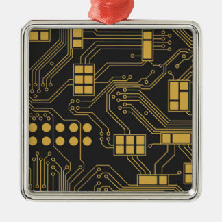 Circuit board - Black and Gold Metal Ornament