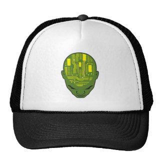 circuit board brain head yellow and green trucker hat