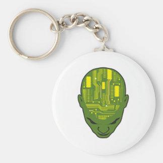 circuit board brain head yellow and green basic round button keychain
