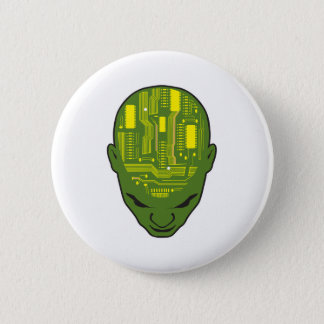circuit board brain head yellow and green pinback button