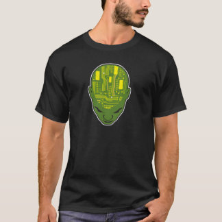circuit board brain head yellow and green T-Shirt