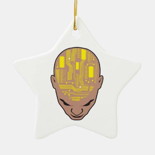 circuit board brain head yellow christmas ornaments