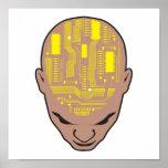 circuit board brain head yellow poster