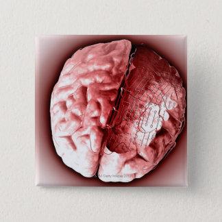 Circuit Board Brain Pinback Button