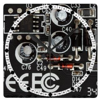 Circuit Board Square Wall Clocks
