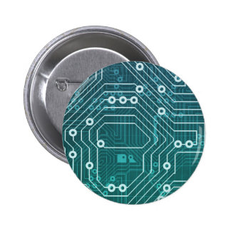Circuit Board Data Network 2 Inch Round Button