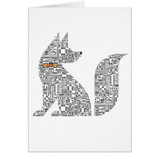 Circuit Board Dog illustration Card