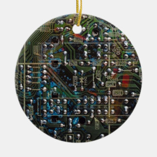Circuit Board Double-Sided Ceramic Round Christmas Ornament