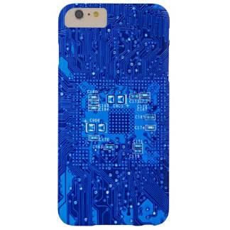 Circuit board in blue monochrome barely there iPhone 6 plus case