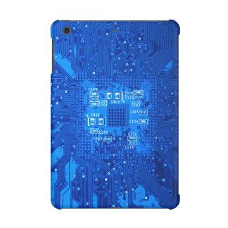 Circuit board in blue monochrome iPad mini retina cases