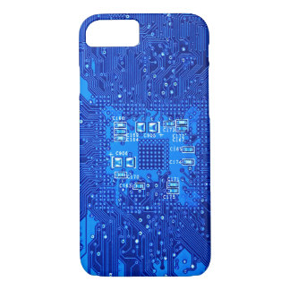 Circuit board in blue monochrome iPhone 7 case