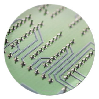 Circuit board photographed close up. The Melamine Plate