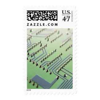 Circuit board photographed close up. The Postage