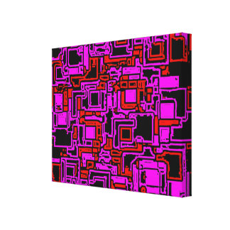 Circuit Board Pixel Art  Wrapped Canvas
