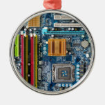 Circuit board round metal christmas ornament