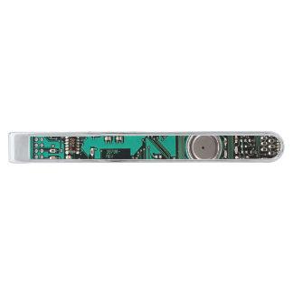 Circuit board silver finish tie clip