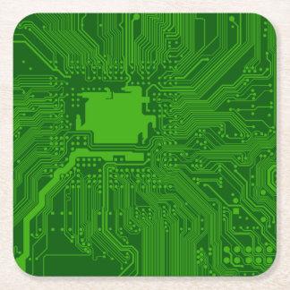 Circuit Board Square Paper Coaster