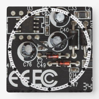 Circuit Board Square Wall Clock
