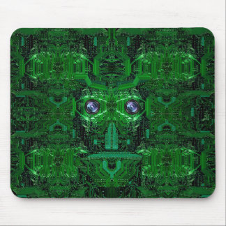 Circuit board with face image in bright green mouse pad