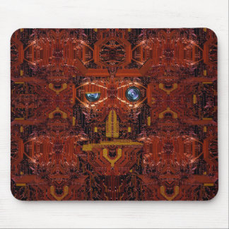 Circuit board with face image in burnt orange mouse pad