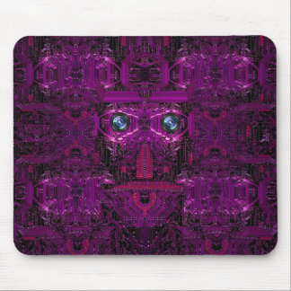 Circuit board with face image in dark purple mouse pad