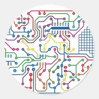 Circuit Classic Round Sticker